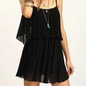HAVE black double layered pleated Ruffle Dress M